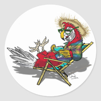 Parrot Relaxing in Beach Chair Classic Round Sticker