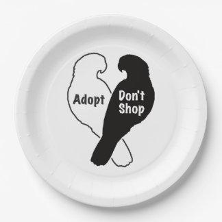 Parrot Rescue Adoption Don't Shop Paper Plate