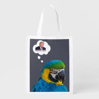 Parrot thinks of Trump Indigo Black Cloud Reusable Grocery Bag