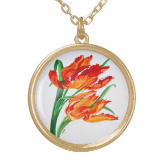 Parrot Tulips Gold Plated Necklace