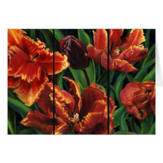 """""""Parrot Tulips Triptych"""" Blank Note Card"""