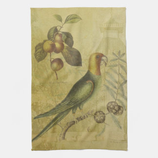 Parrot with Plums Kitchen Towel