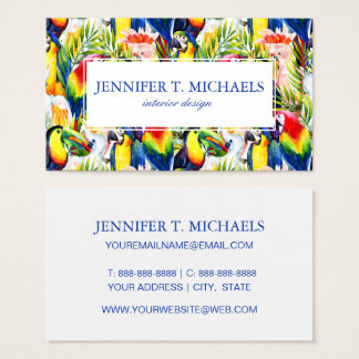 Parrots And Palm Leaves Business Card