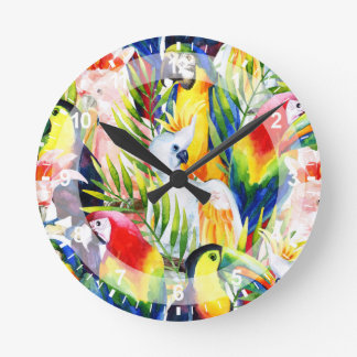 Parrots And Palm Leaves Clock