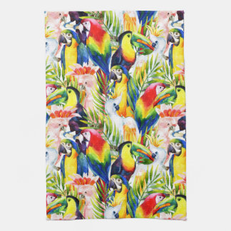 Parrots And Palm Leaves Kitchen Towel