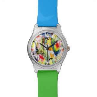 Parrots And Palm Leaves Watch