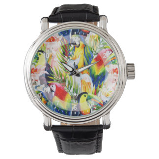 Parrots And Palm Leaves Wrist Watch
