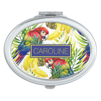 Parrots And Tropical Fruit | Add Your Name Compact Mirror