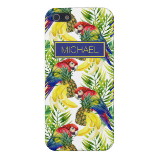 Parrots And Tropical Fruit | Add Your Name iPhone 5 Cover