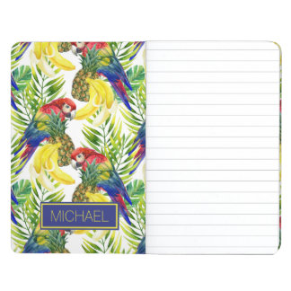 Parrots And Tropical Fruit | Add Your Name Journals