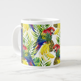 Parrots And Tropical Fruit | Add Your Name Large Coffee Mug