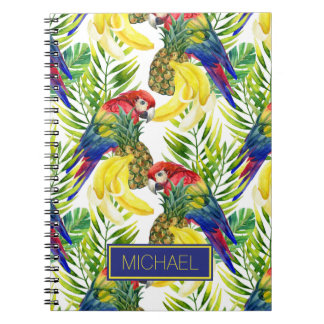Parrots And Tropical Fruit | Add Your Name Spiral Notebook