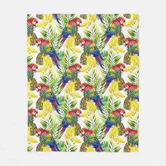 Parrots And Tropical Fruit Fleece Blanket