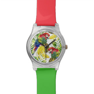 Parrots And Tropical Fruit Wrist Watches