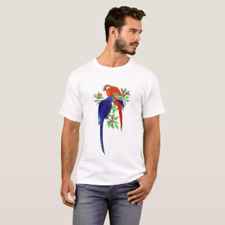 Parrots Blue Red Colorful Bold Tropical T-Shirt