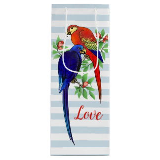 Parrots In Love Blue Red Colorful Striped Wine Gift Bag