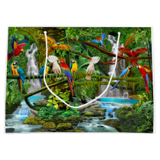 PARROTS IN PARADISE LARGE GIFT BAG