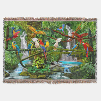 PARROTS IN PARADISE THROW BLANKET