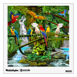 PARROTS IN PARADISE WALL DECAL