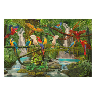 PARROTS IN PARADISE WOOD WALL ART