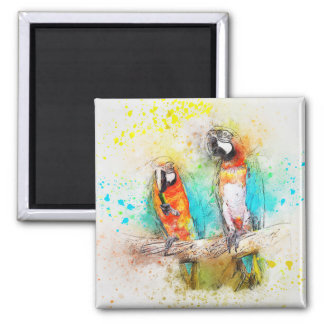 Parrots in watercolor magnet