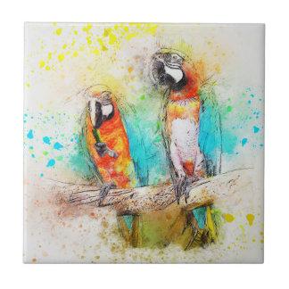 Parrots in watercolor tile