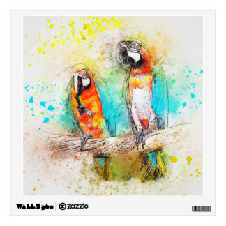 Parrots in watercolor wall sticker