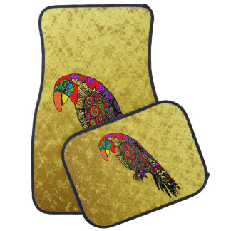 Parrots in yellow red green blue gold car mat