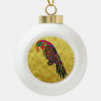 Parrots in yellow red green blue gold foil ceramic ball christmas ornament
