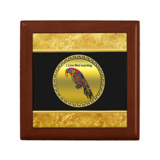 Parrots in yellow red green blue gold foil gift box