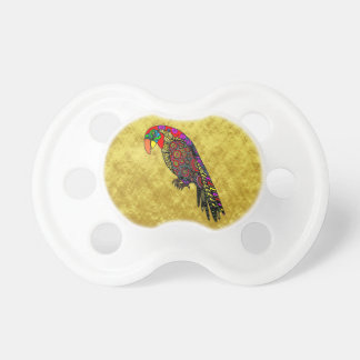 Parrots in yellow red green blue gold foil pacifier