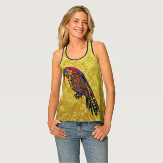 Parrots in yellow red green blue gold foil tank top