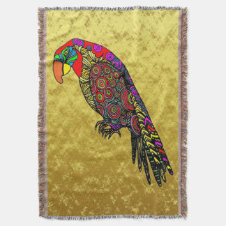 Parrots in yellow red green blue gold foil throw blanket