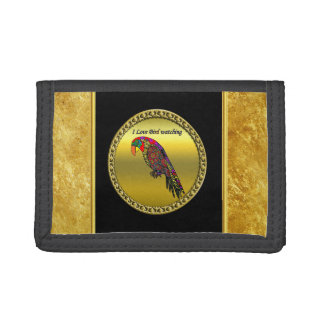 Parrots in yellow red green blue gold foil trifold wallets