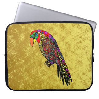 Parrots in yellow red green blue gold laptop sleeve