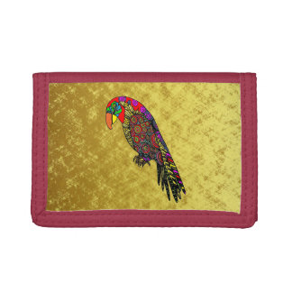 Parrots in yellow red green blue gold tri-fold wallets