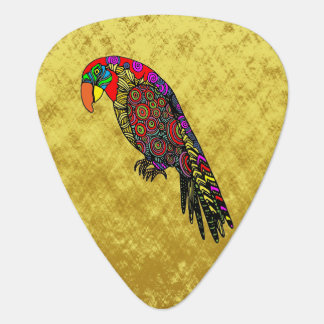 Parrots in yellow red green blue guitar pick