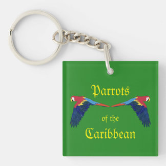 Parrots of the Caribbean Green Keychain