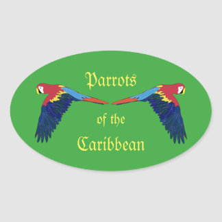 Parrots of the Caribbean Green Oval Sticker