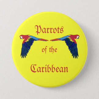 Parrots of the Caribbean on Yellow 3 Inch Round Button