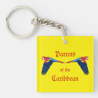 Parrots of the Caribbean Yellow Keychain