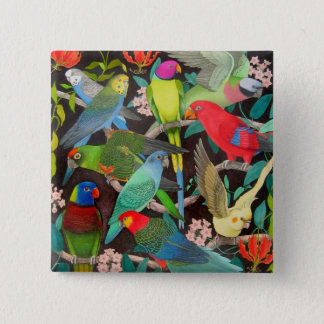 Parrots of the World II 2 Inch Square Button