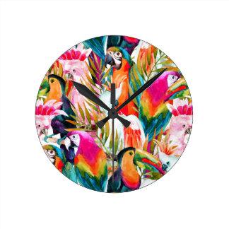 Parrots & Palm Leaves Clock