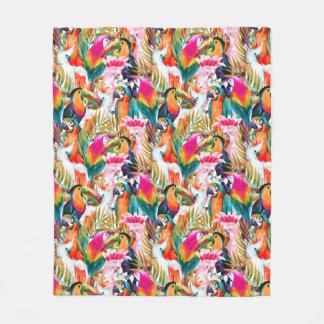 Parrots & Palm Leaves Fleece Blanket