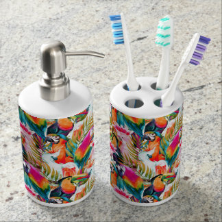 Parrots & Palm Leaves Toothbrush Holder