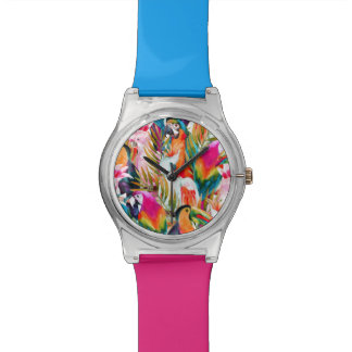 Parrots & Palm Leaves Wrist Watch