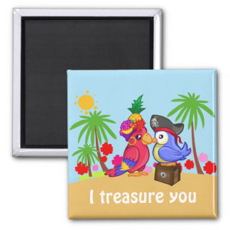 Parrots Treasure love Magnet