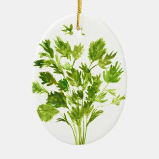 Parsley herbs Parsley print Ceramic Oval Ornament