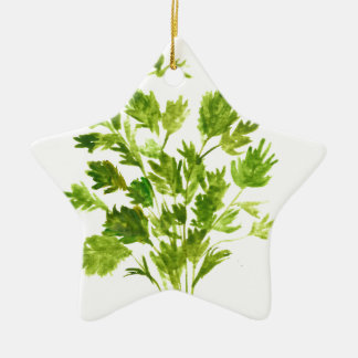 Parsley herbs Parsley print Ceramic Star Ornament