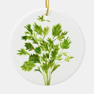 Parsley herbs Parsley print Round Ceramic Ornament